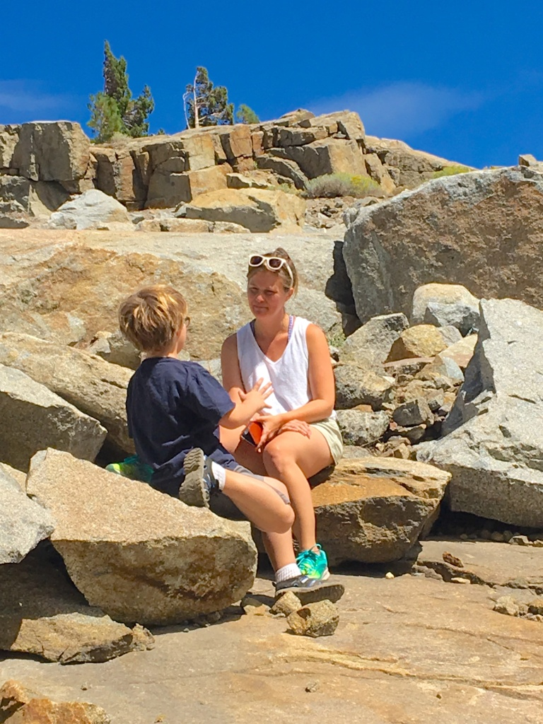 the author and her son have a serious discussion while out for a family hike